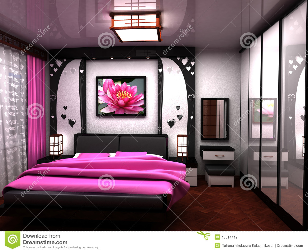 Bedroom a beautiful interior of a room royalty free for Beautiful bedroom interior