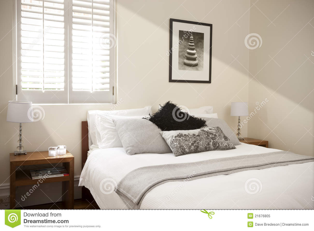 Bedroom Bed Interior Light Stock Image Of Bright