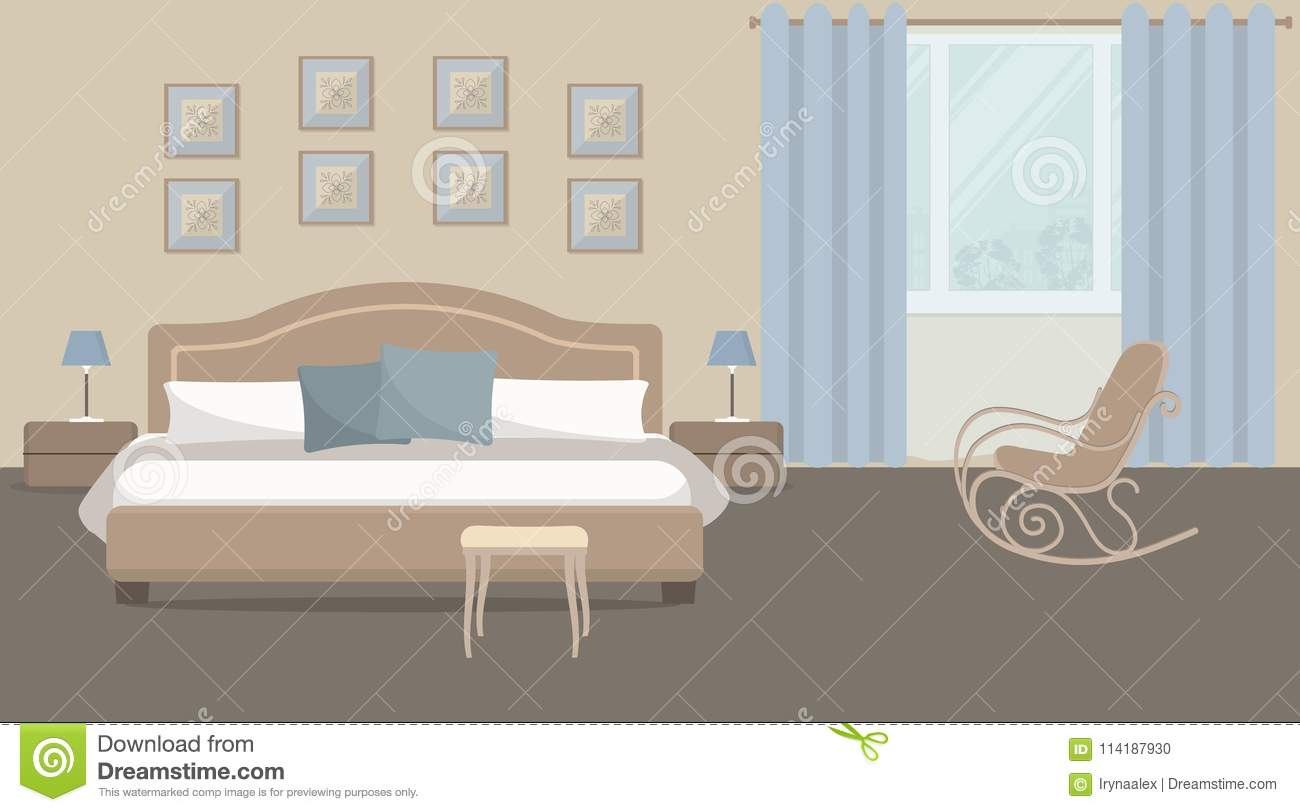 Super Bedroom In A Beige Color With Bed And Rocking Chair Stock Spiritservingveterans Wood Chair Design Ideas Spiritservingveteransorg