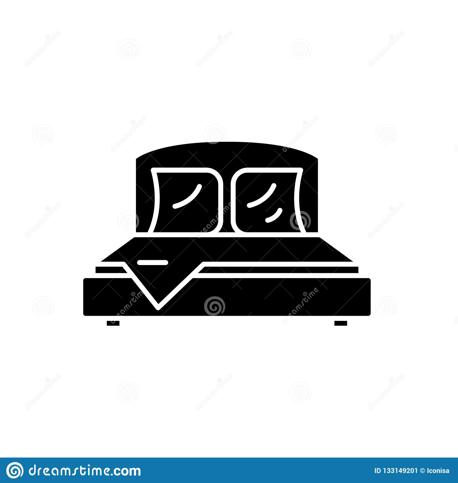Bedroom Black Icon Vector Sign On Isolated Background Bedroom