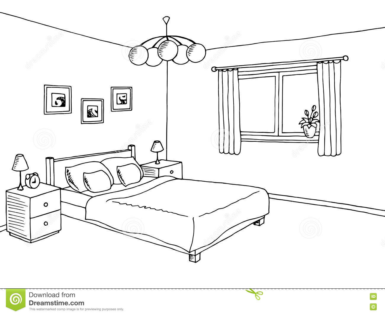 Bedroom black white graphic art interior sketch for Bedroom designs drawing
