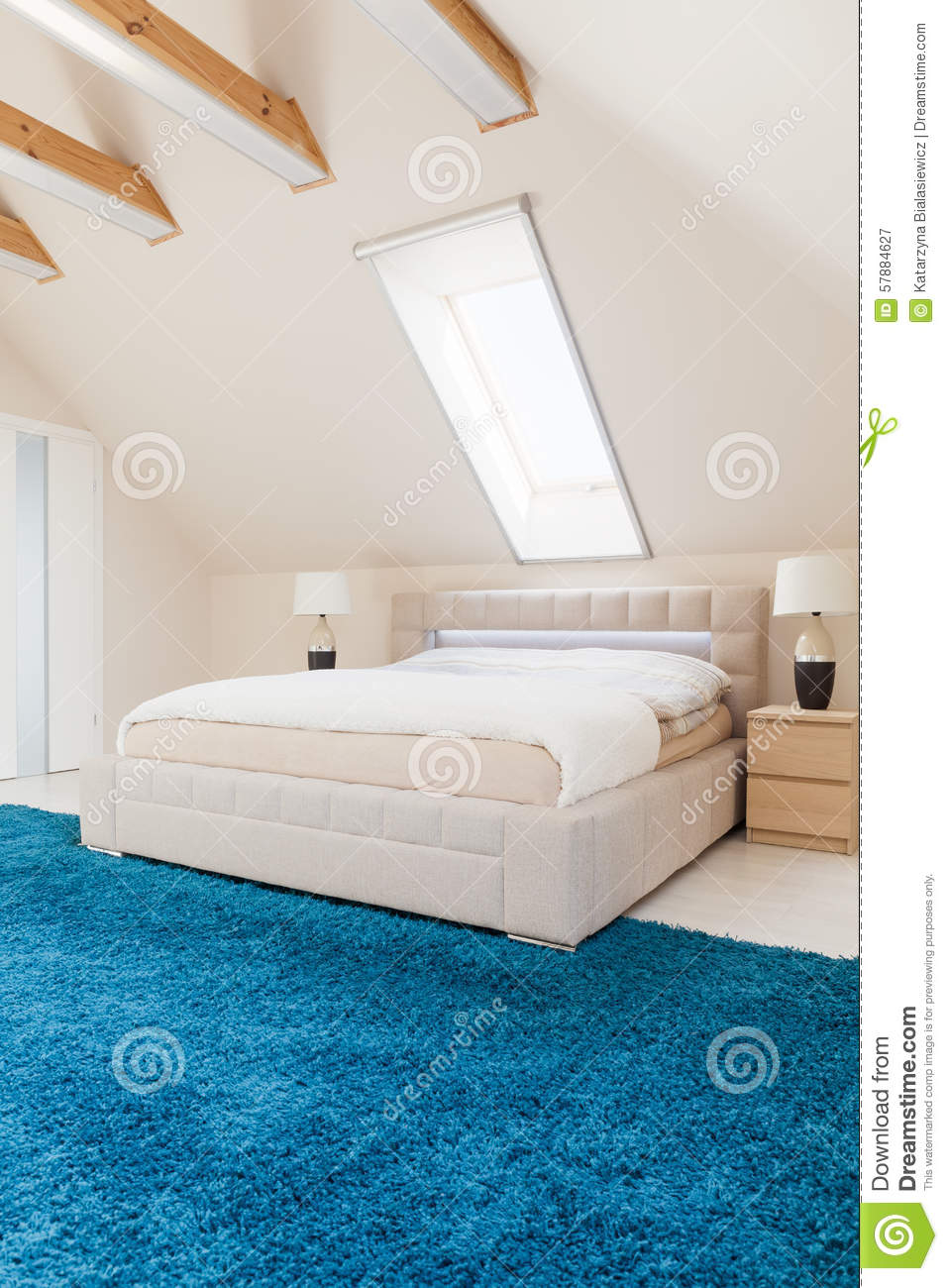 bedroom with blue carpet stock image image of decor