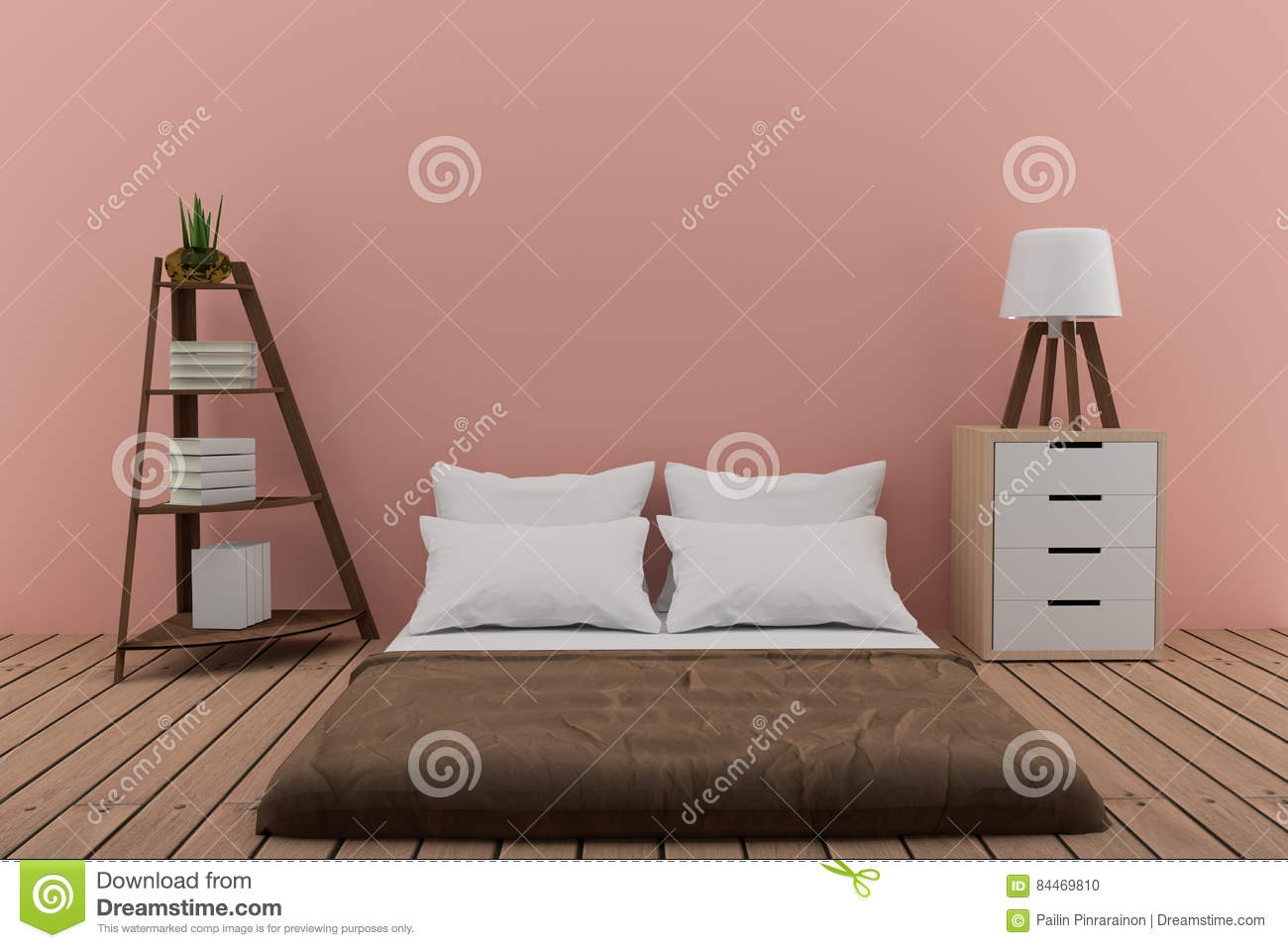 Download Bedroom With Bookshelf Small Lamp And Cabinet In Pink Room 3d Rendering Stock