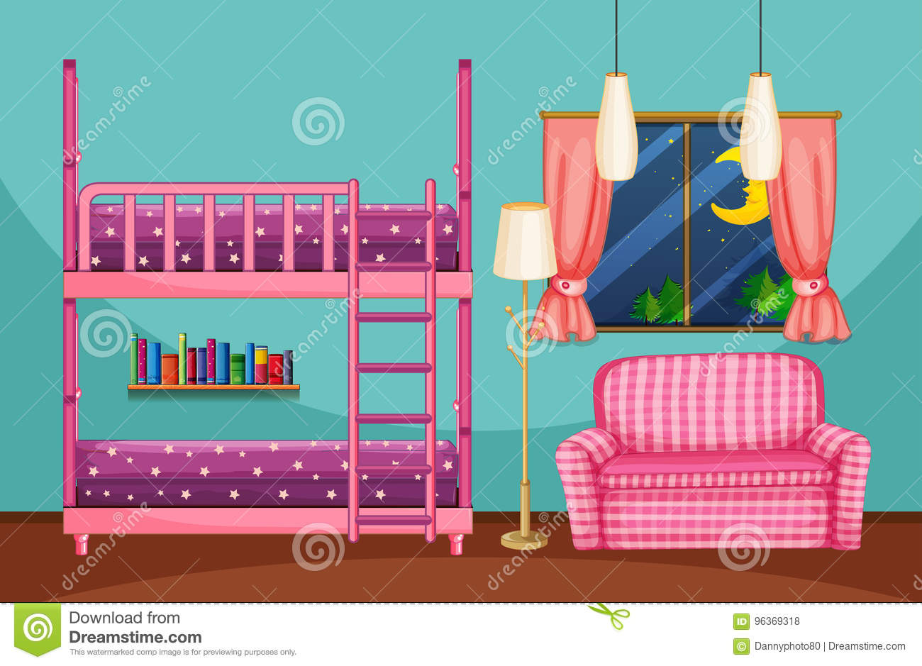 Picture of: Bedroom With Bunkbed And Pink Sofa Stock Vector Illustration Of Drawing Decoration 96369318