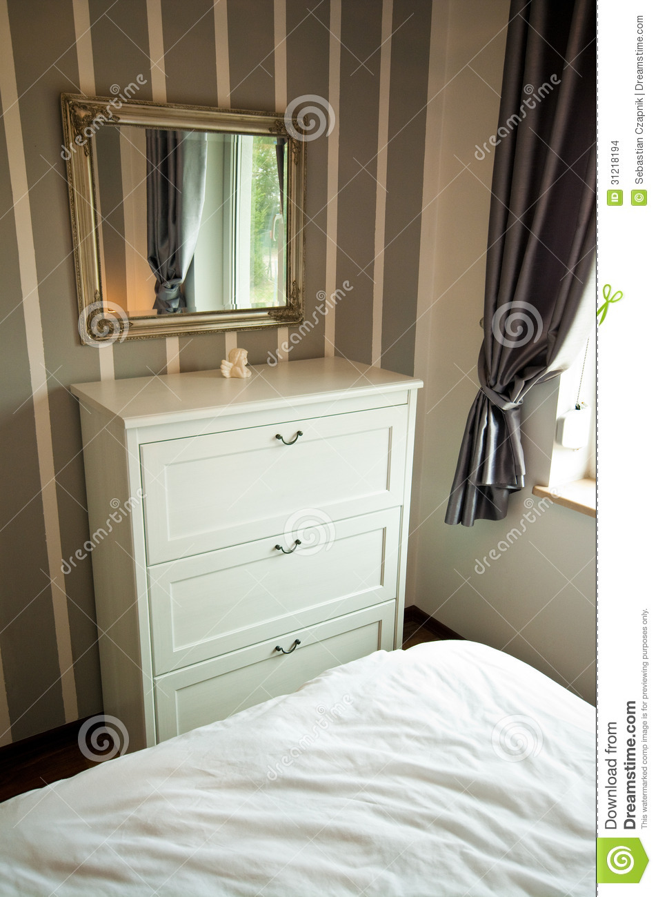 Bedroom cabinet with drawers and mirror stock photo for Bedroom wall cabinet with mirror