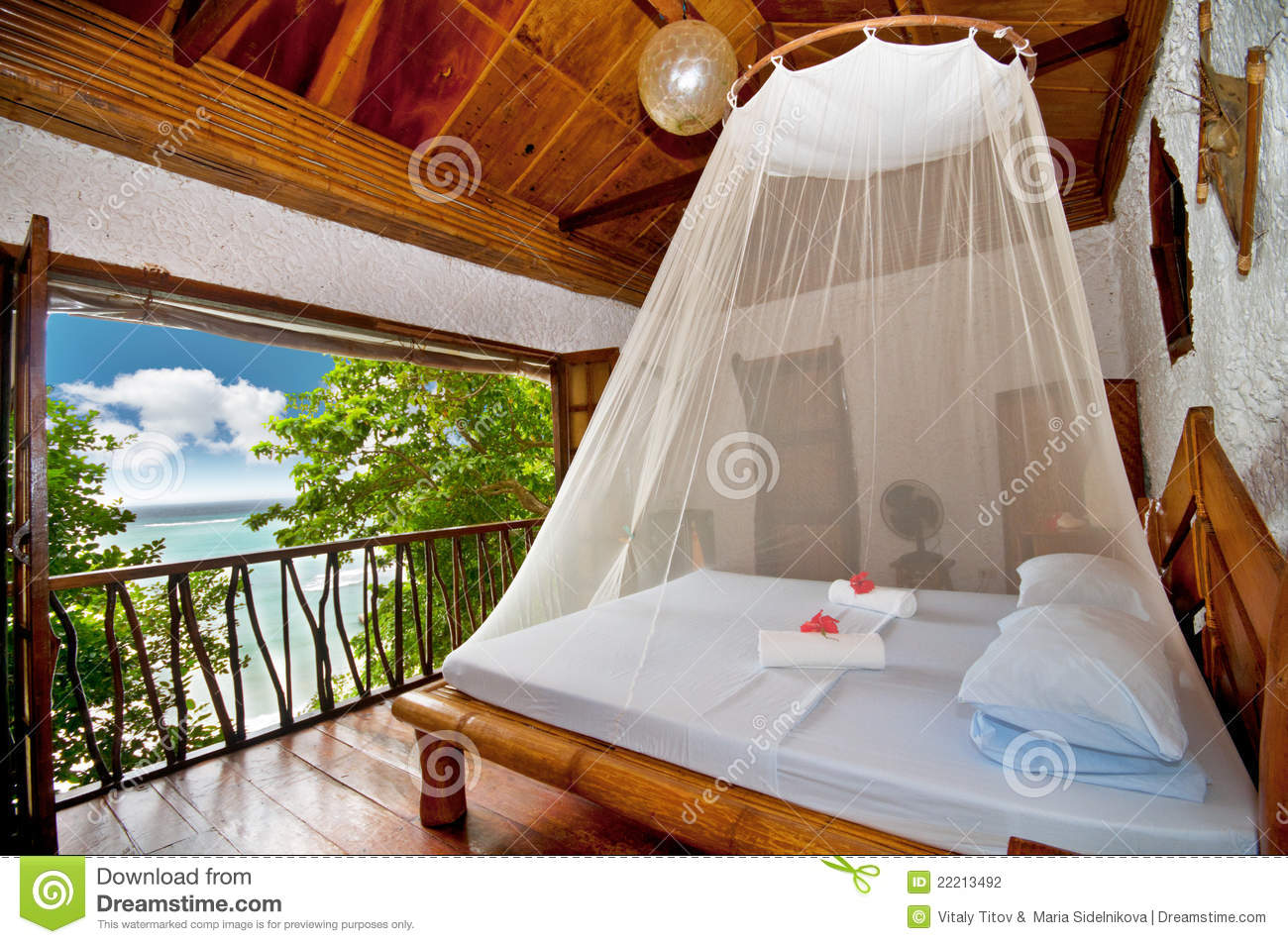 Bedroom With Canopy Bed With Sea View Stock Photo Image