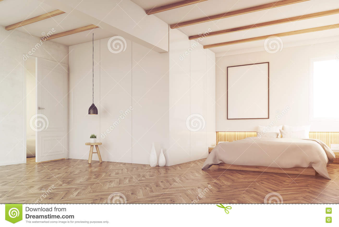 Bedroom With Ceiling Beams Toned Stock Illustration