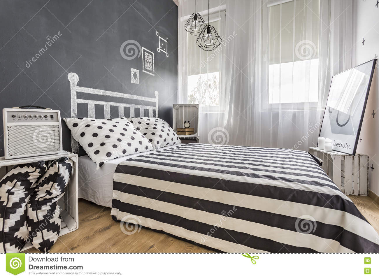 Bedroom With Chalkboard Wall Idea Stock Photo Image Of Single