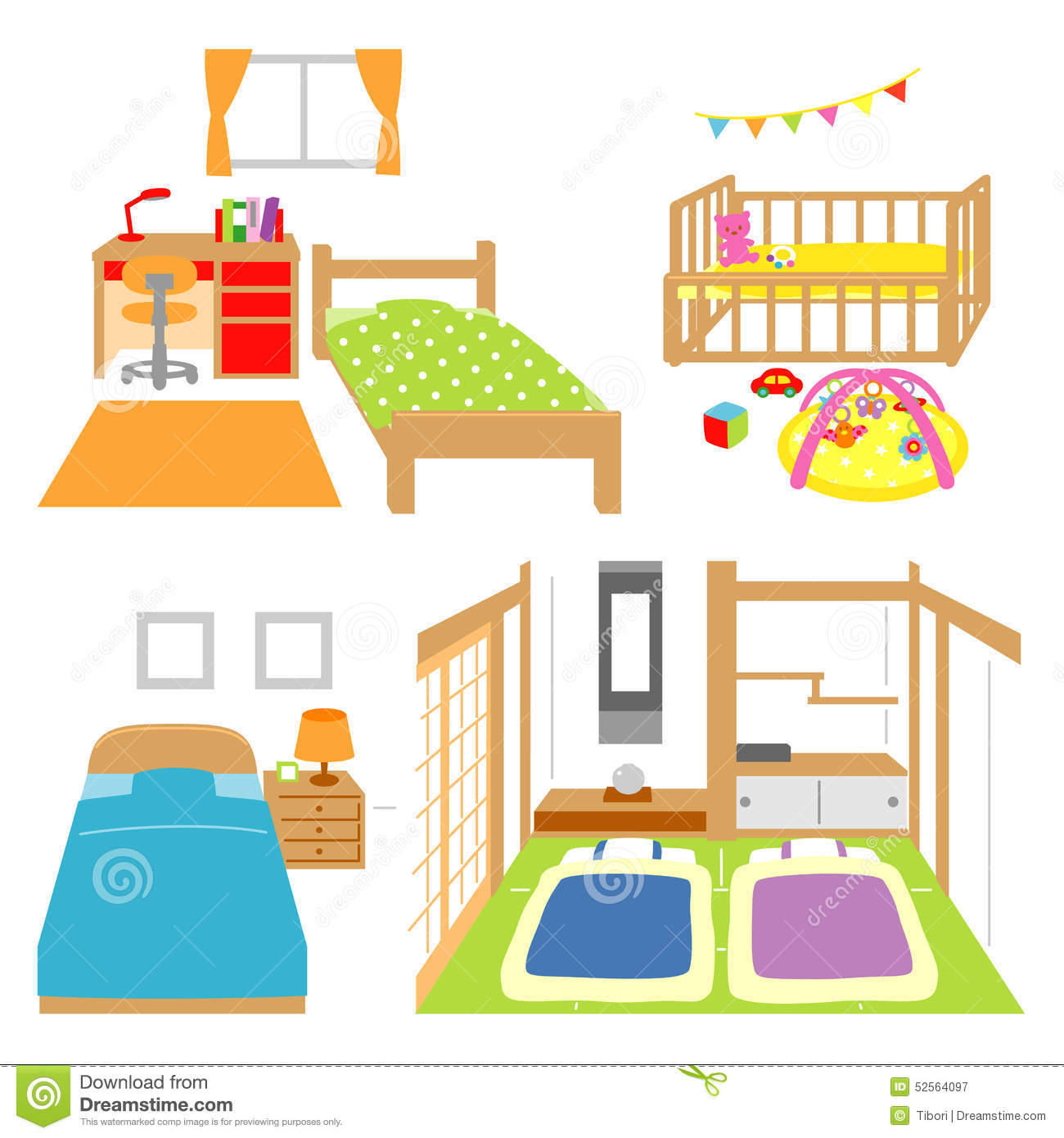 Bedroom, Childs Room, Crib, Japanese Style Room Stock