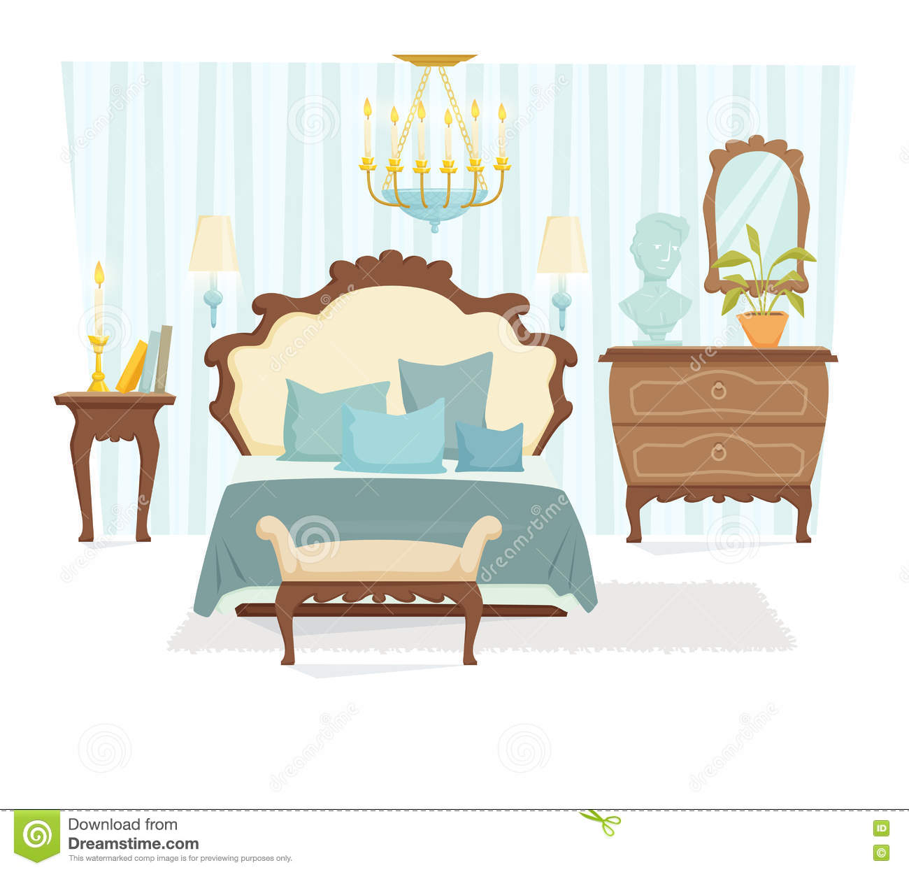 Bedroom classic interior stock vector illustration of for Classic interior furniture