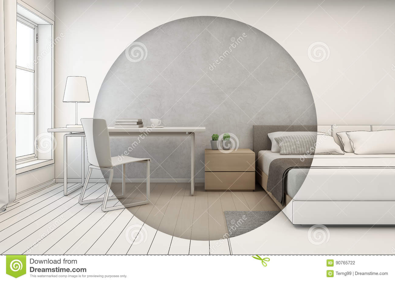 Bedroom With Concrete Wall Background In Modern House, Interior ...