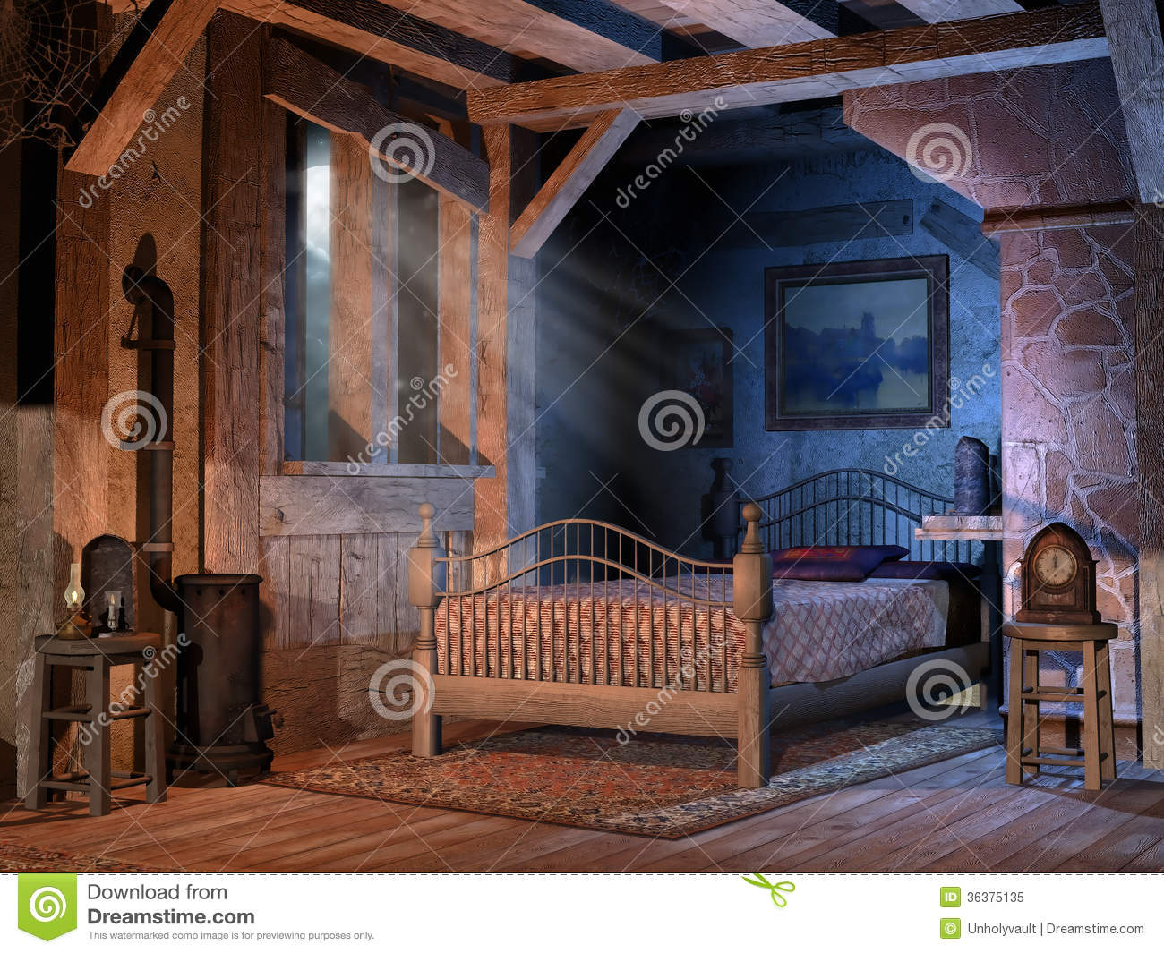 Old Bedroom Bedroom In A Cottage Royalty Free Stock Photo Image 36375135