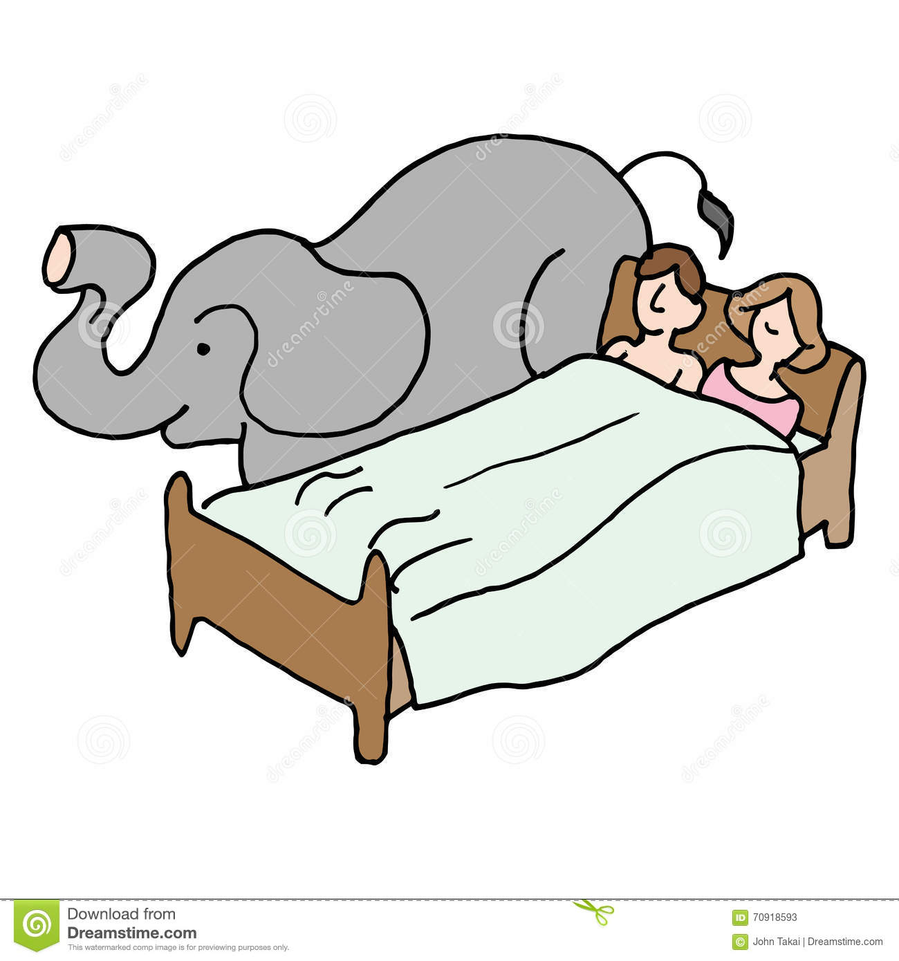 bedroom couple elephant in the room stock vector illustration of rh dreamstime com Ignore the Elephant in Room Clip Art Elephant in the Middle of the Room