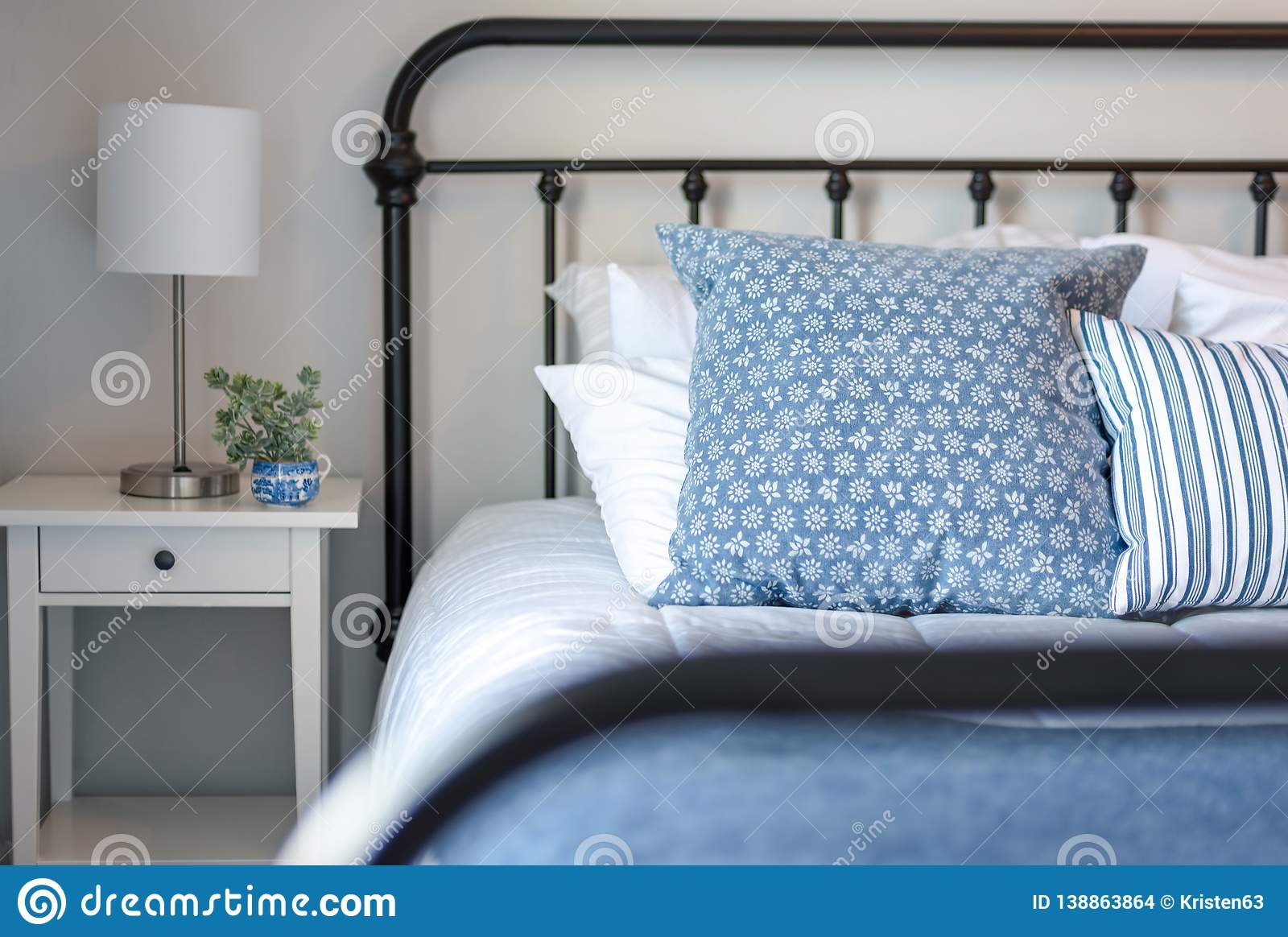 Bedroom Decorated In Blue And White Stock Photo Image Of House Linens 138863864