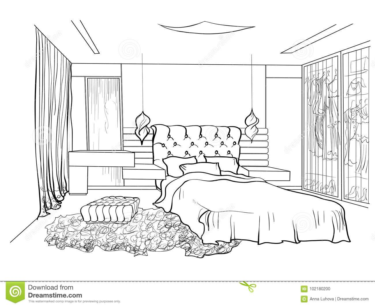 Bedroom design black stock vector. Illustration of house - 11