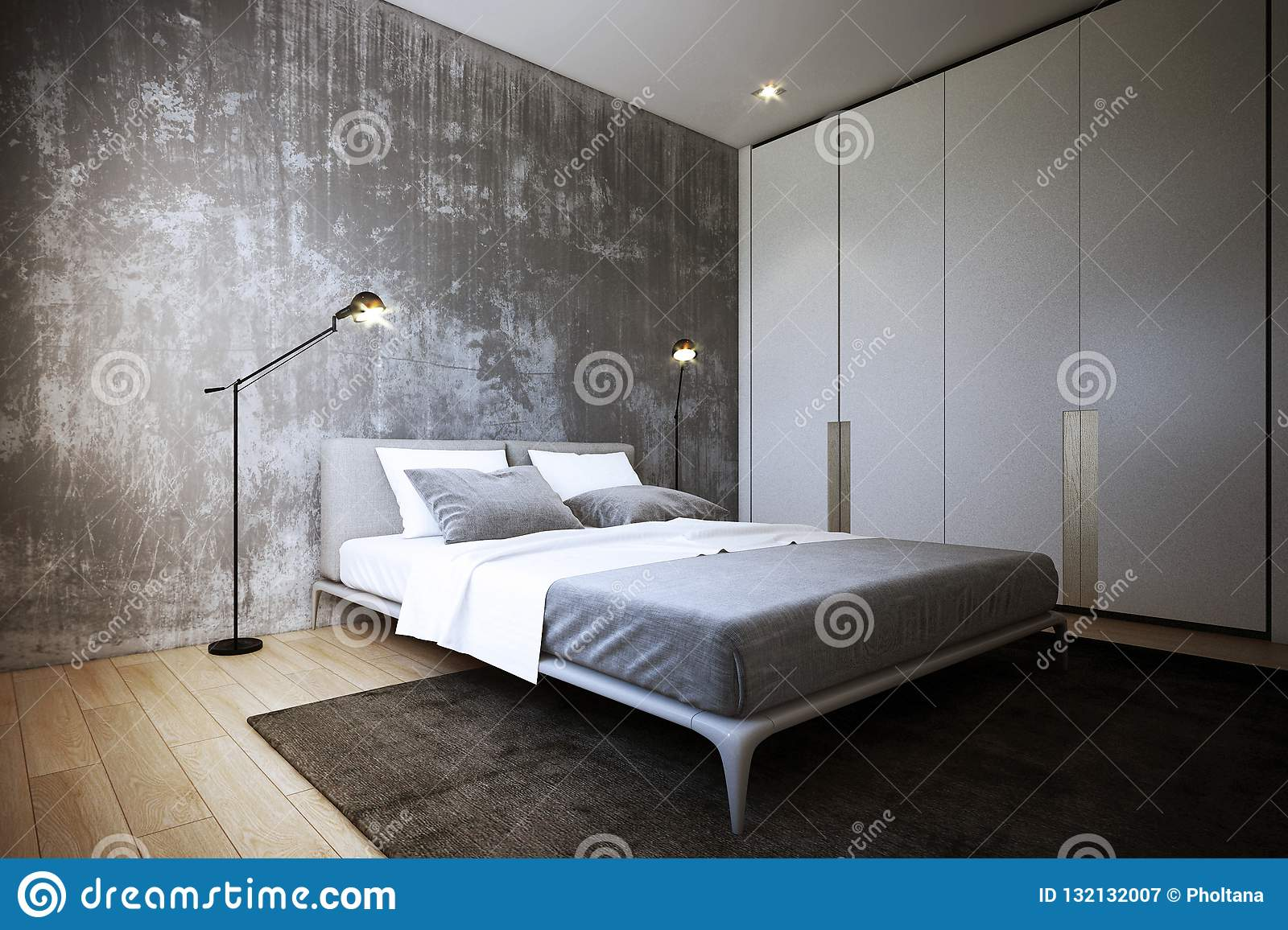 Commode Chambre Style Industriel the bedroom design ,interior of industrial style, 3d