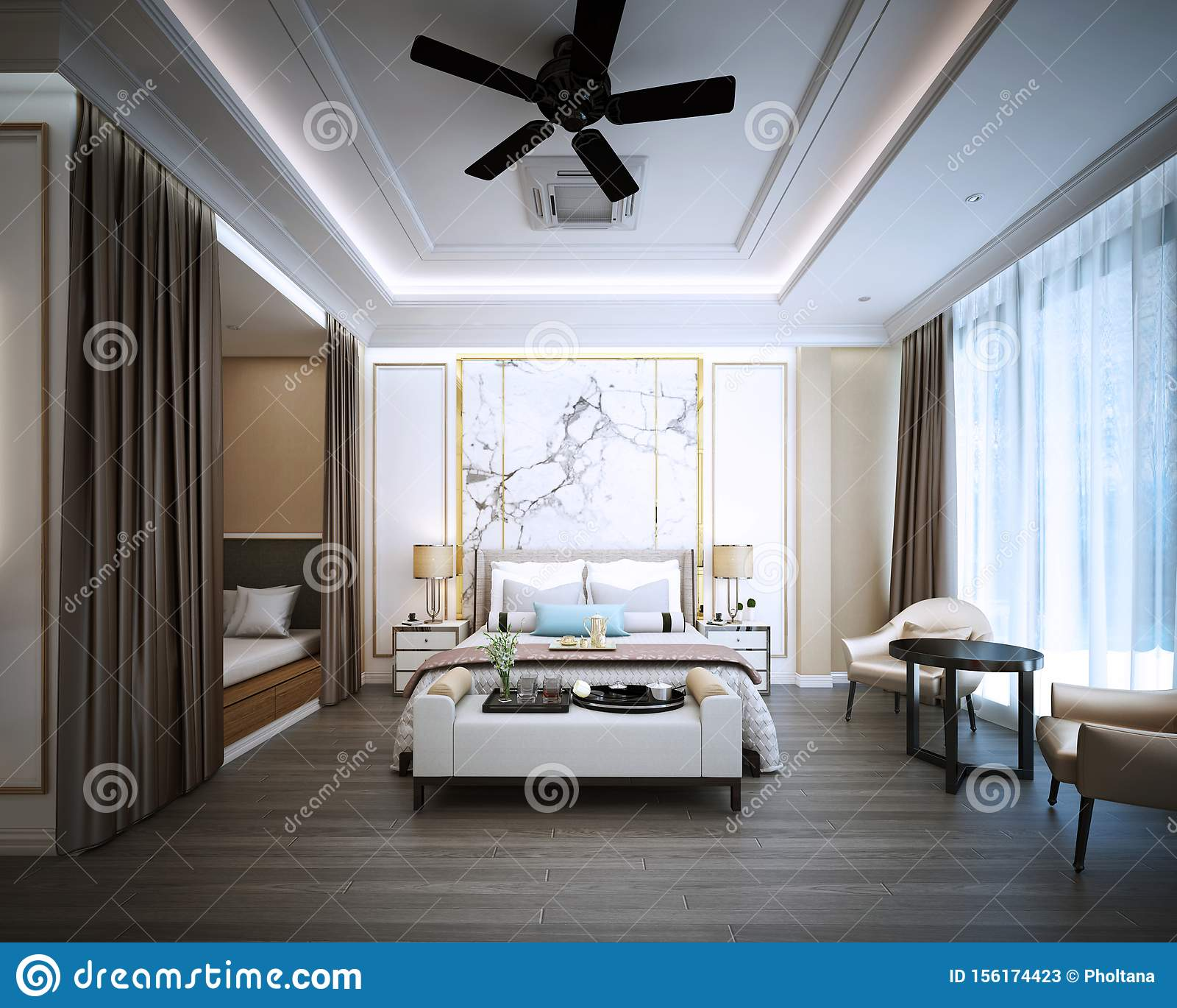 Bedroom Design Interior Of Modern Classic Style Stock Illustration Illustration Of Area Dining 156174423