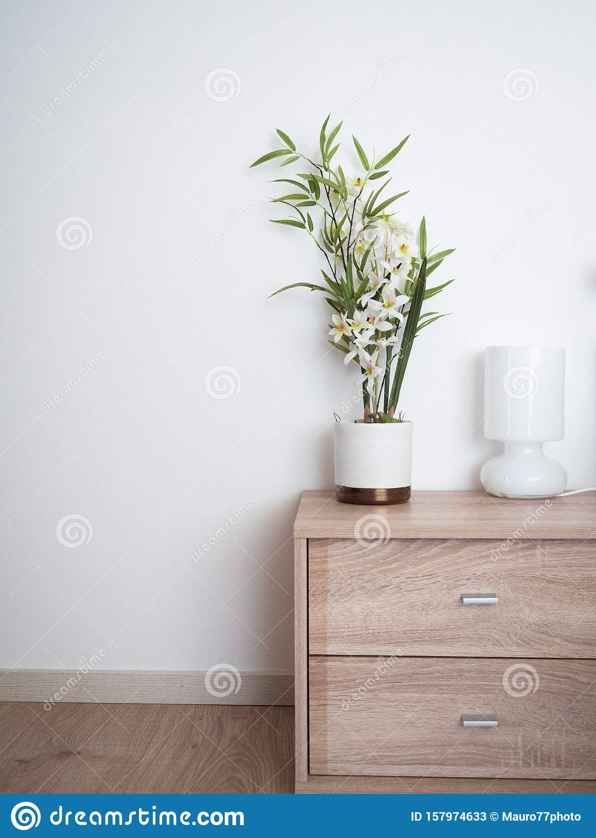 Bedroom Detail With Minimalist Design Stock Image Image Of White Bright 157974633
