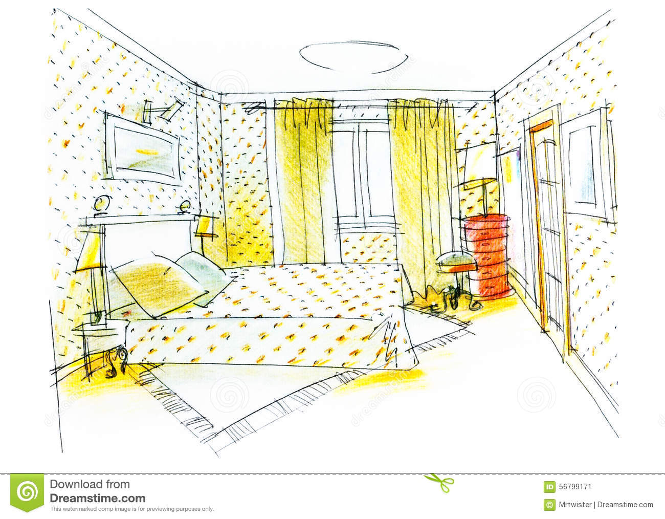Bedroom drawing with color pencil stock illustration illustration