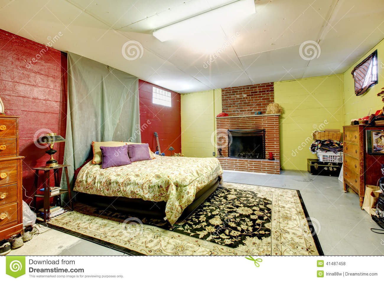 Bedroom With Fireplace In Old House Stock Photo Image 41487458