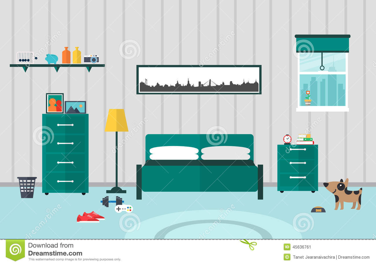 Bedroom flat design stock vector image 45636761 for 4 bedroom flat design