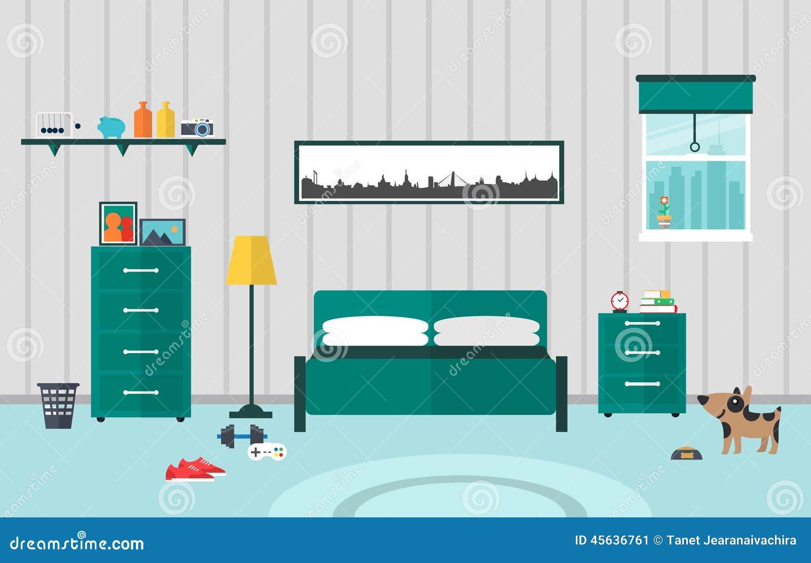 Bedroom Flat Design Stock Vector Image 45636761