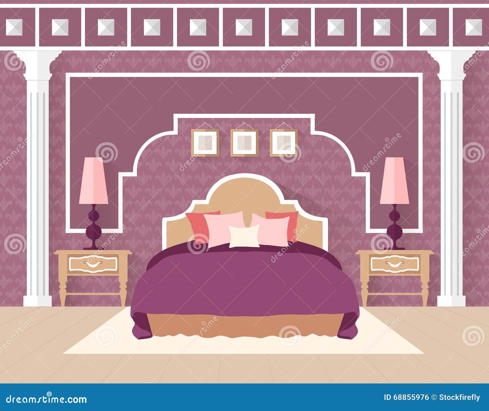 Bedroom Interior Design Set Furniture Vector ~ Flat bedroom design in retro colors vector background