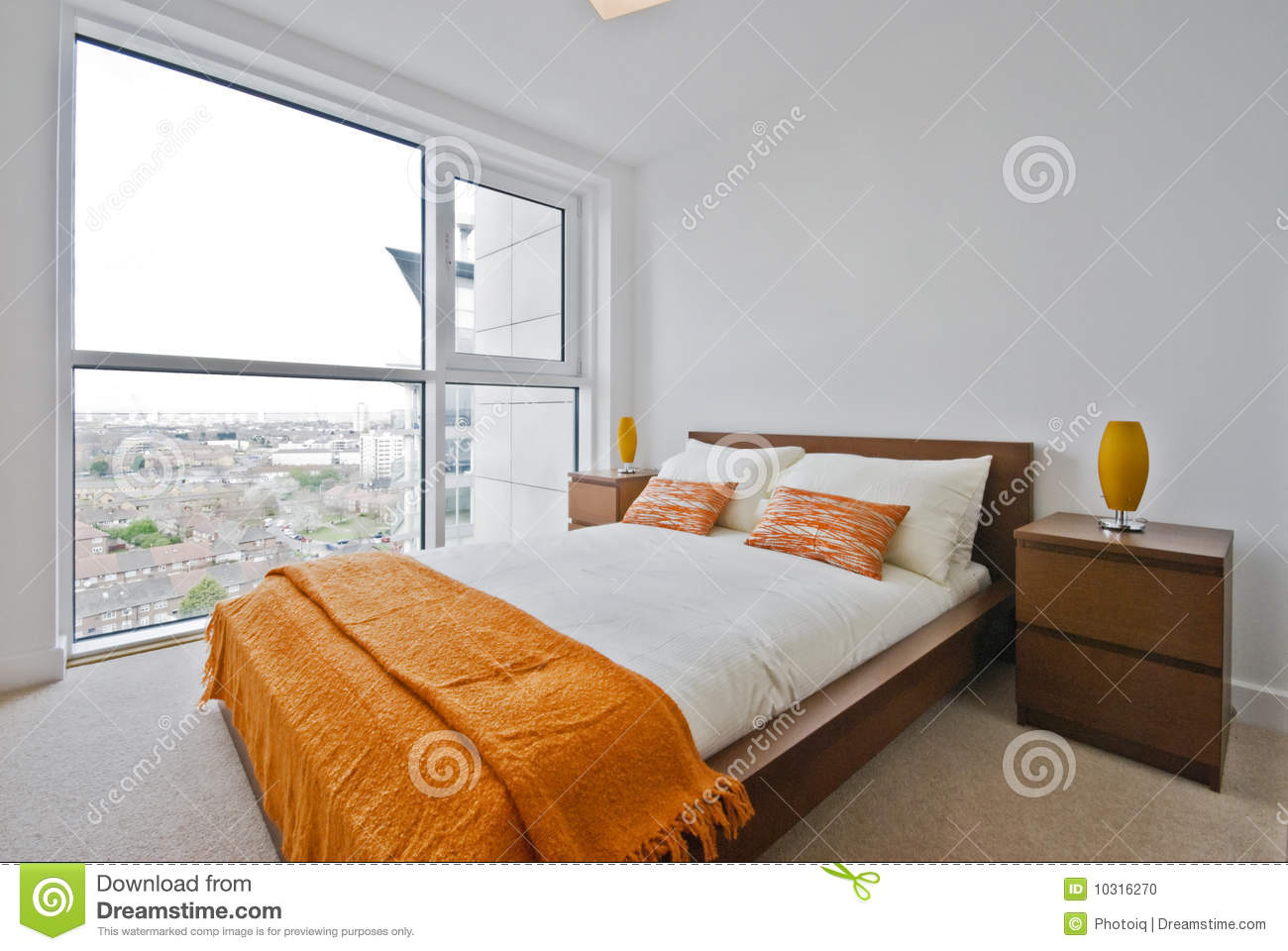 Bedroom With Floor To Ceiling Windows Stock Photo Image