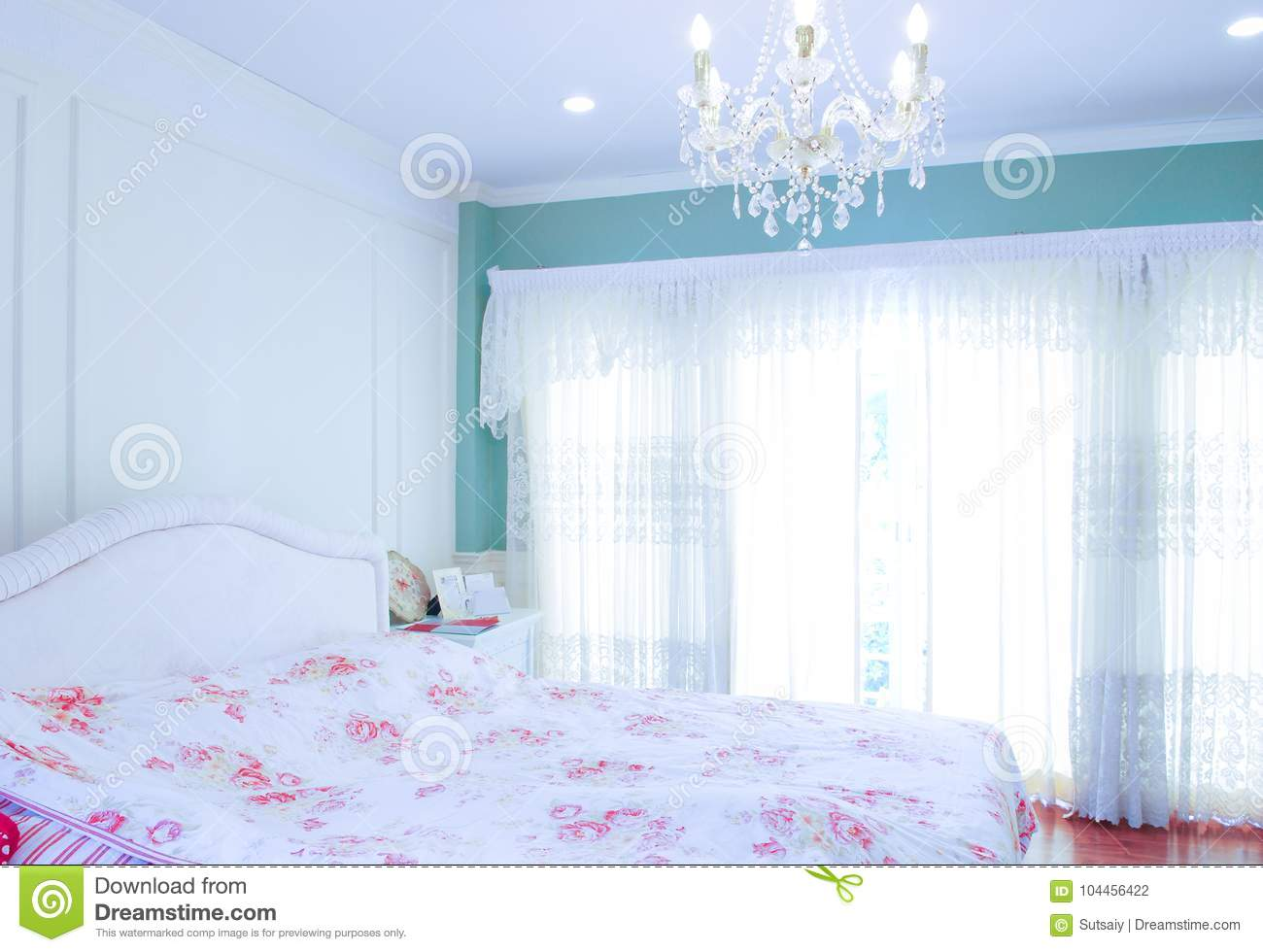 Download Bedroom With Flower Decoration And Chandelier Stock Photo   Image  Of Home, Relax: