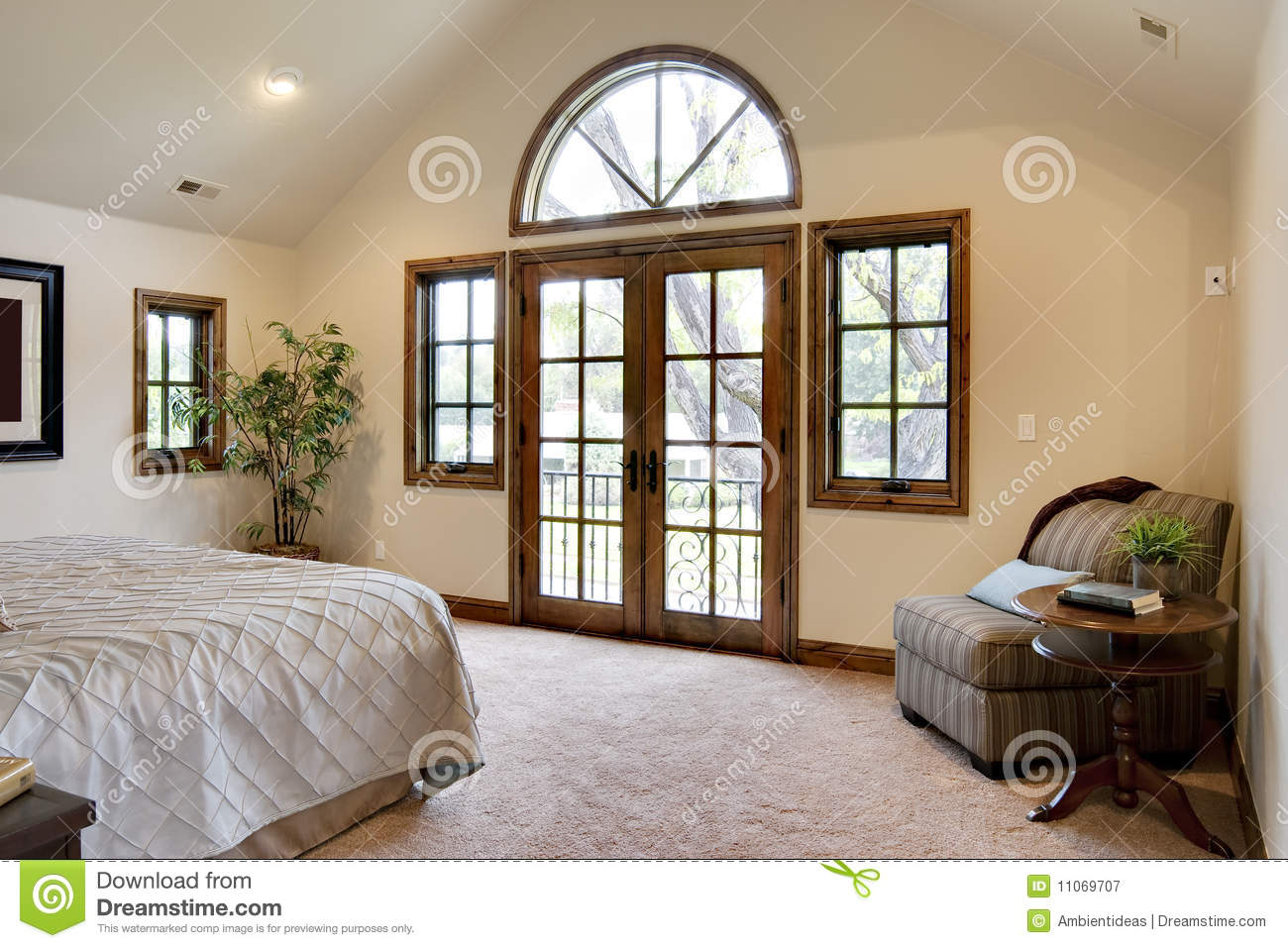 Bedroom With French Door Balcony Stock Image - Image of ...