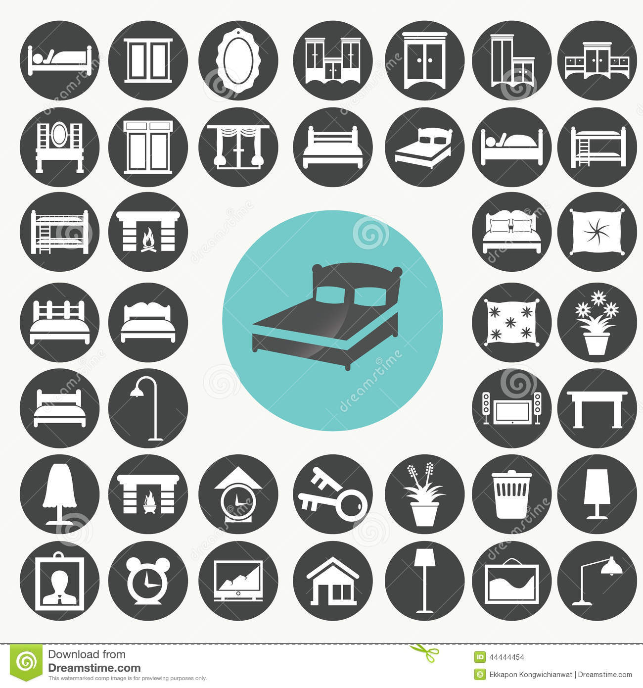 Bedroom Furniture Accessories bedroom furniture and accessories icons set. stock illustration