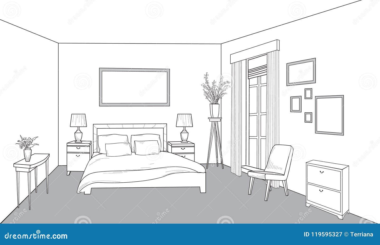 Bedroom Furniture Interior Outline Sketch Vintage Style Bed Room