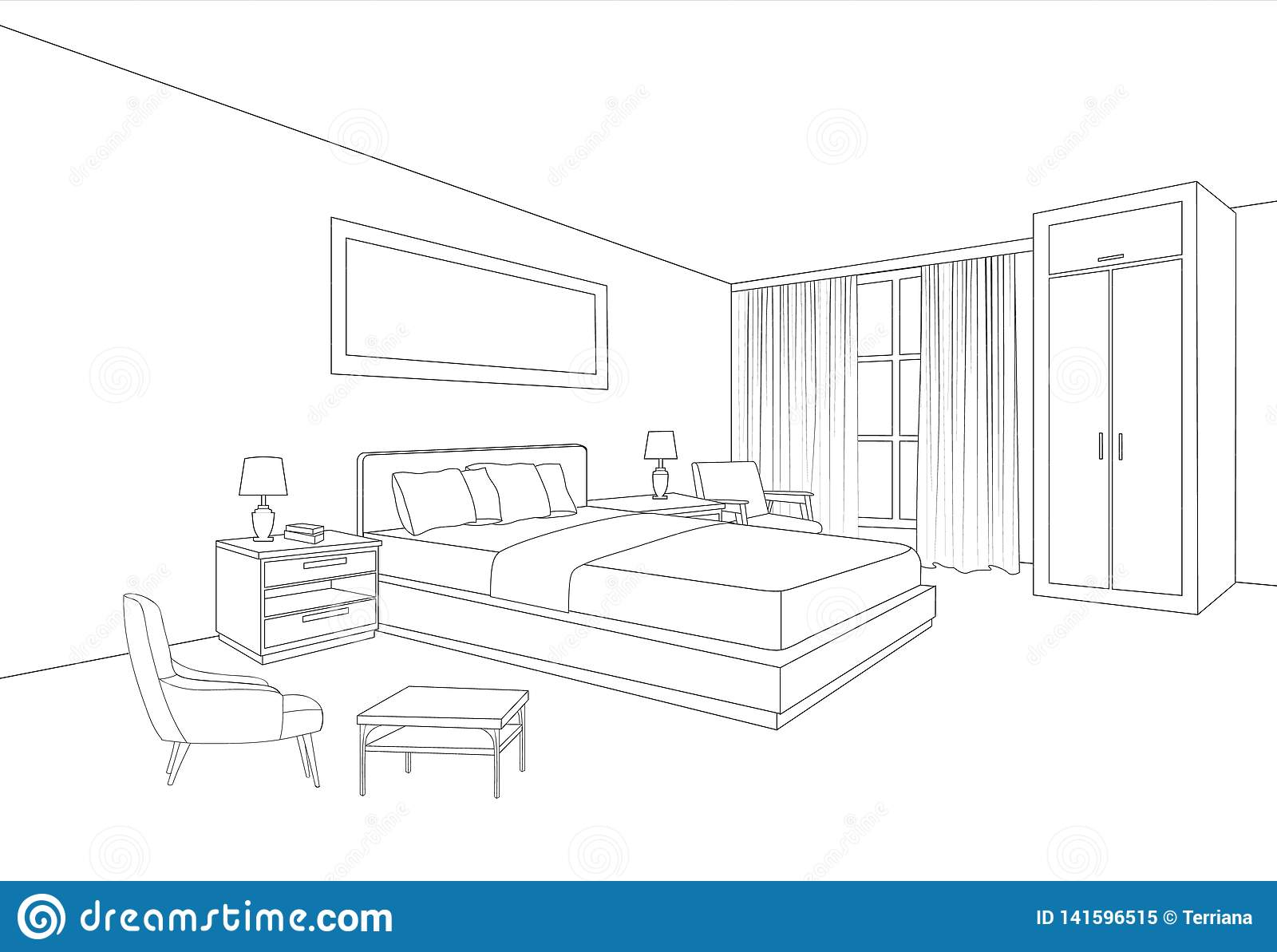Bedroom Furniture Interior. Room Line Sketch Drawing Stock