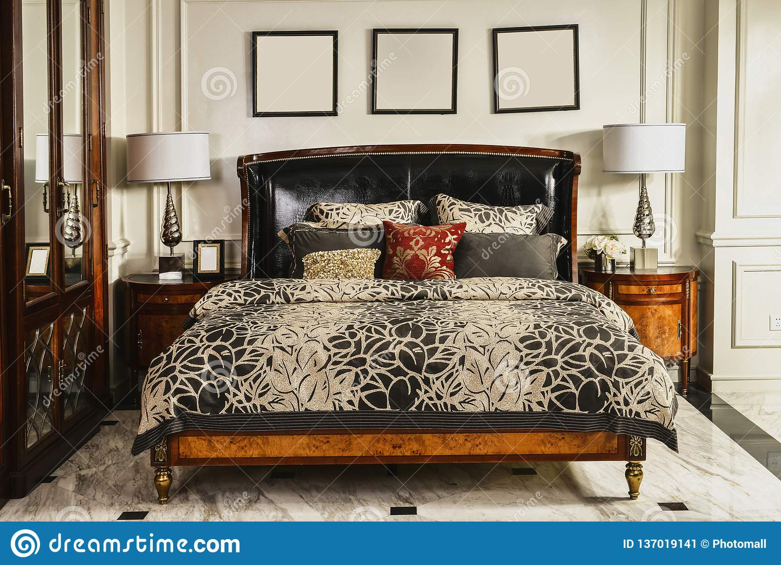 Bedroom Furniture In Luxury House Stock Image - Image of ...