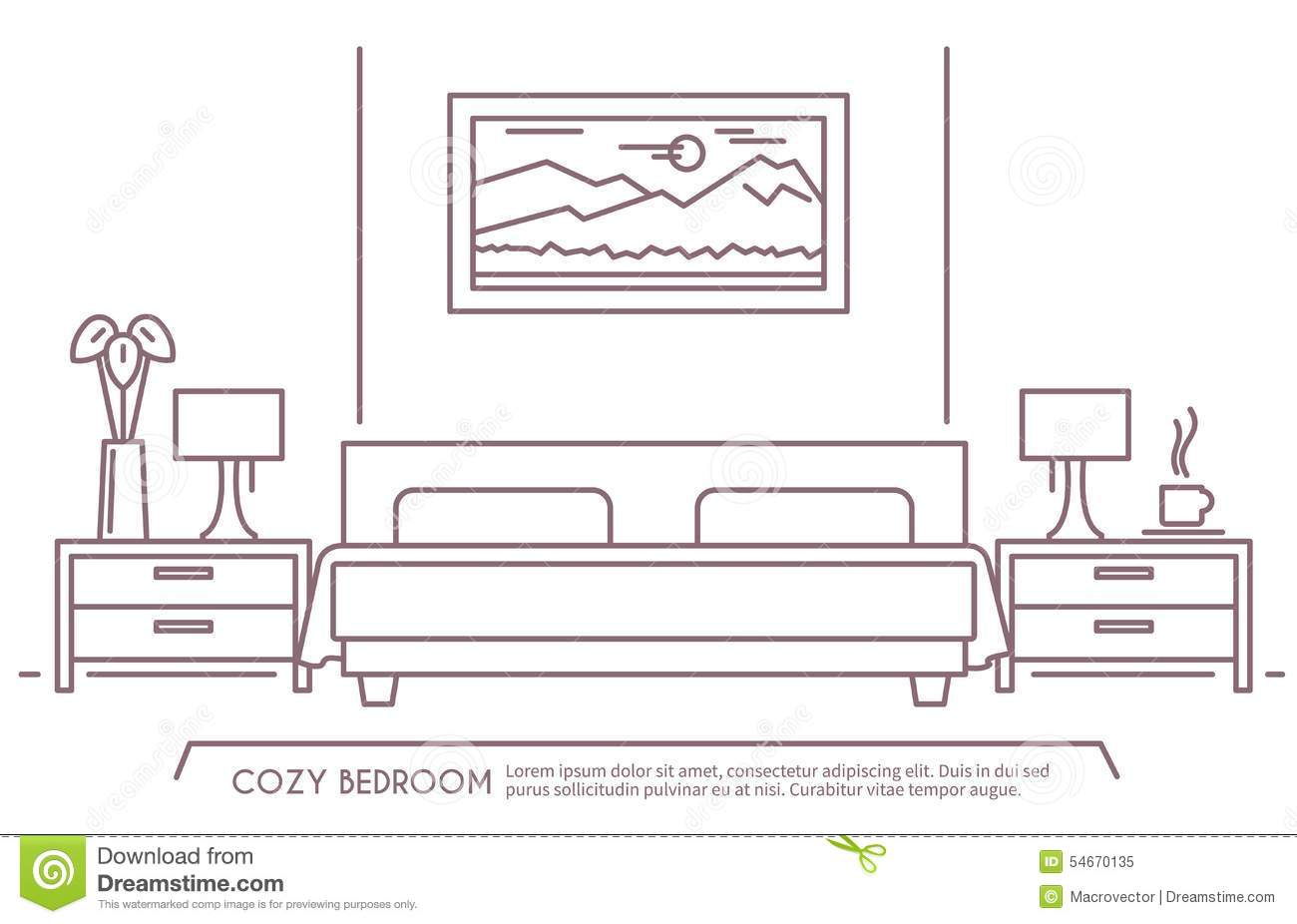 Cartoon bedroom background black and white for Living room outline