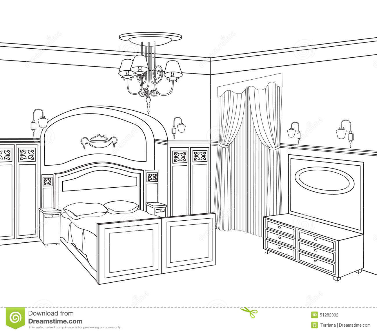 Bedroom furniture retro style bed room stock for Bedroom designs sketch
