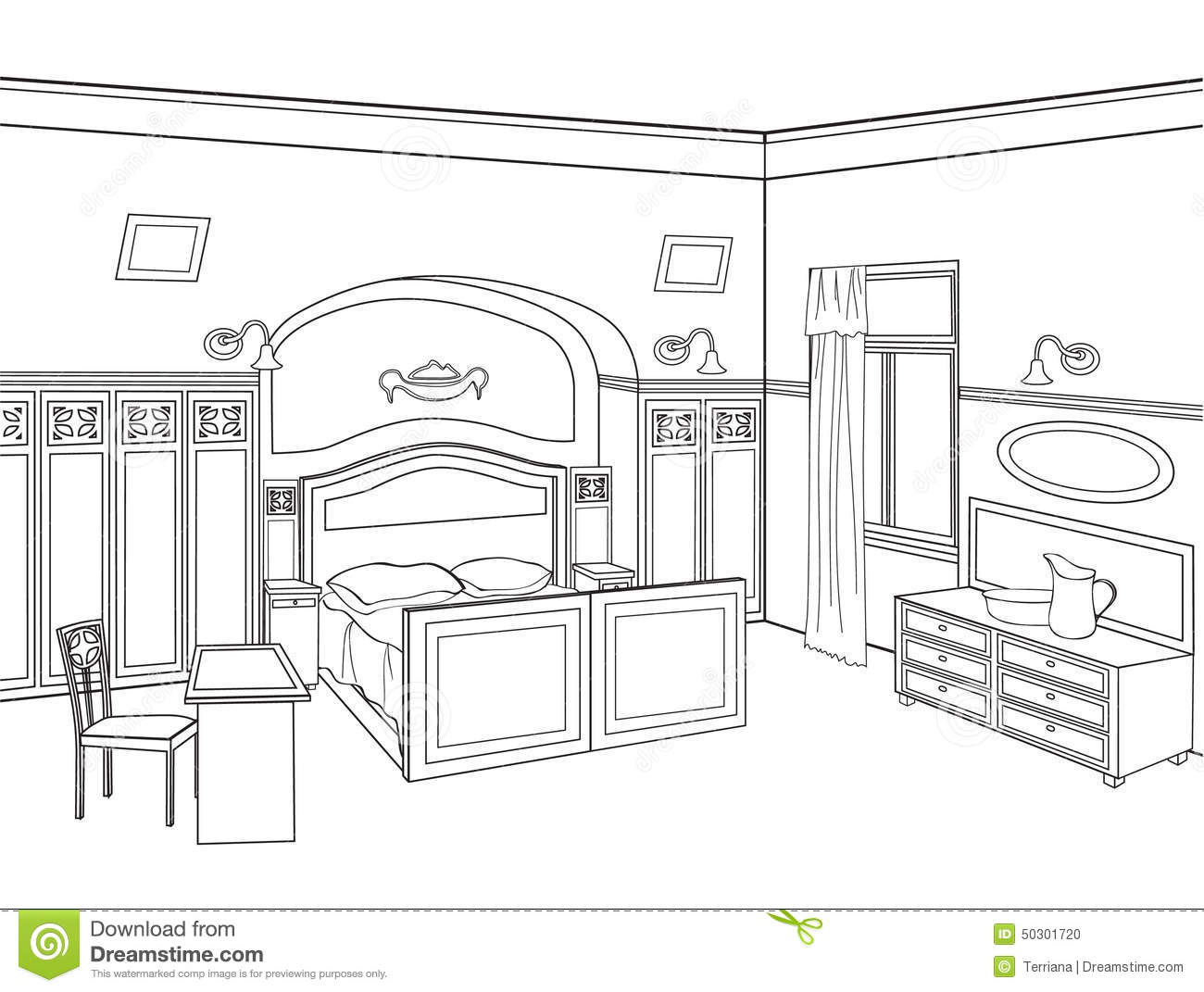 . Bedroom Furniture  Room Interior In Retro Style Illustration