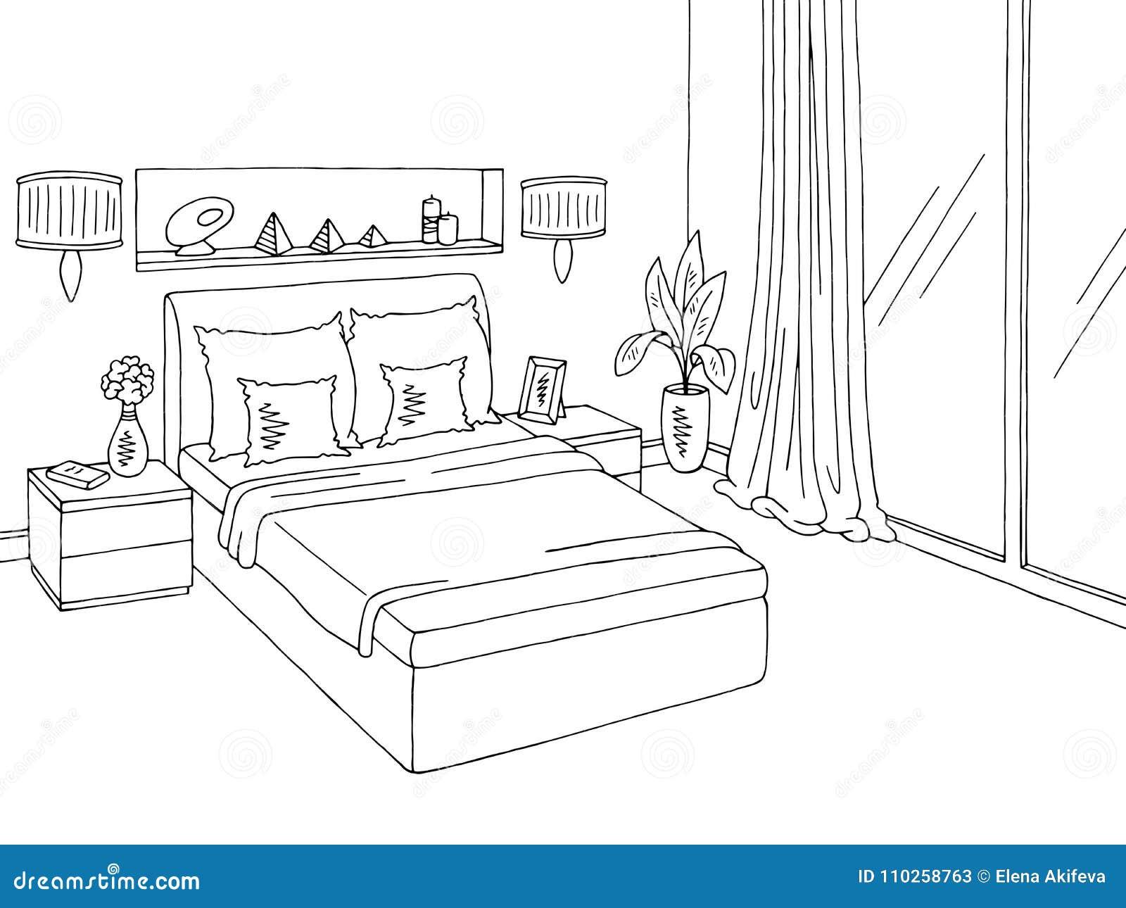 Bedroom Graphic Black White Home Interior Sketch Illustration Stock