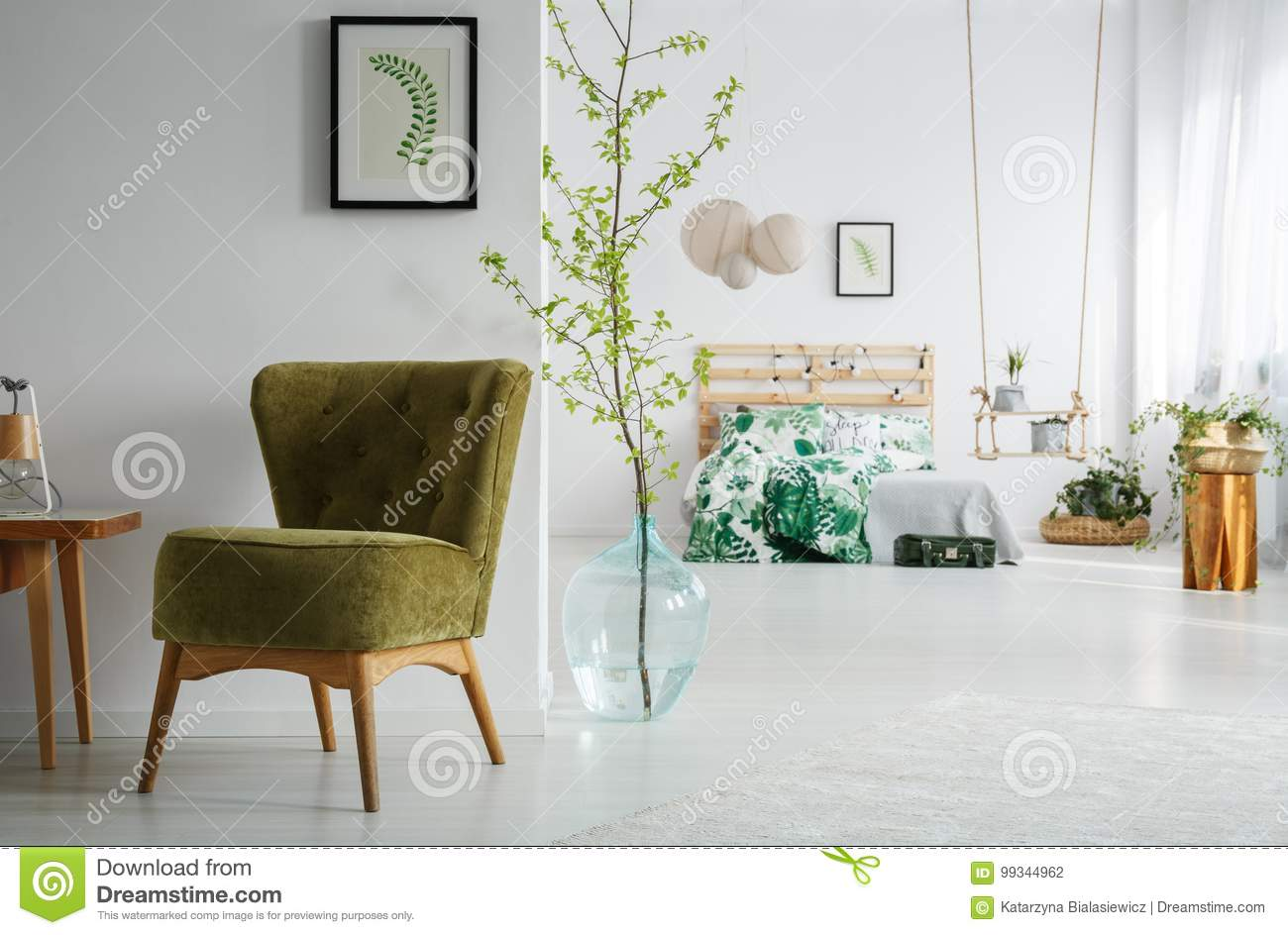 Bedroom With Green Vintage Chair Stock Photo - Image of ...