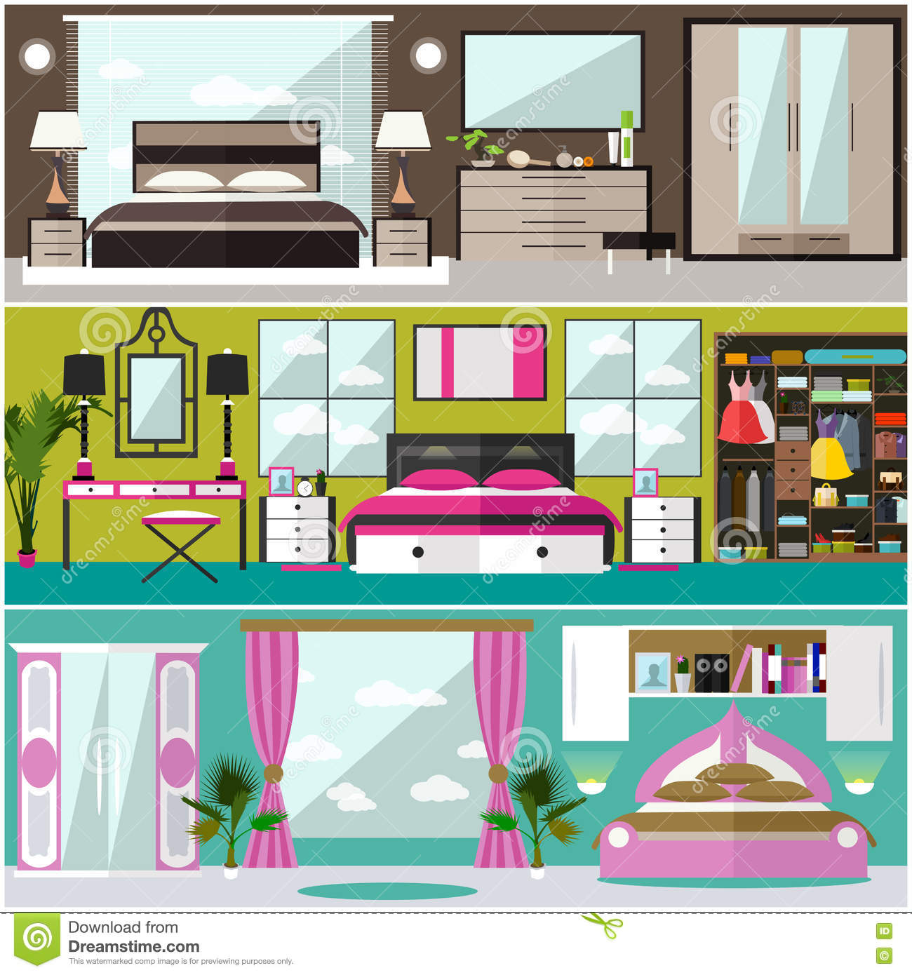 Bedroom interior banners set in flat style vector for Room design vector