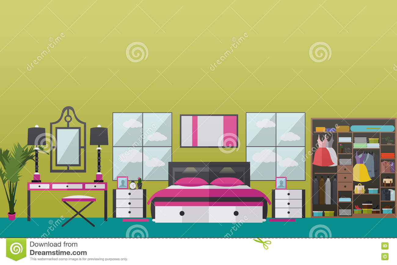 Bedroom interior flat vector illustration vector illustration 80814182 - Home design elements ...
