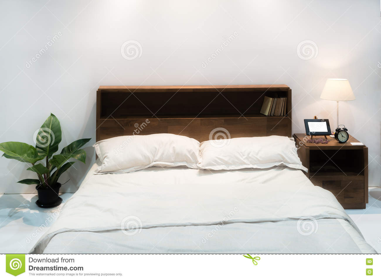 Bedroom interior with bed and pillow of cosy home in modern desi