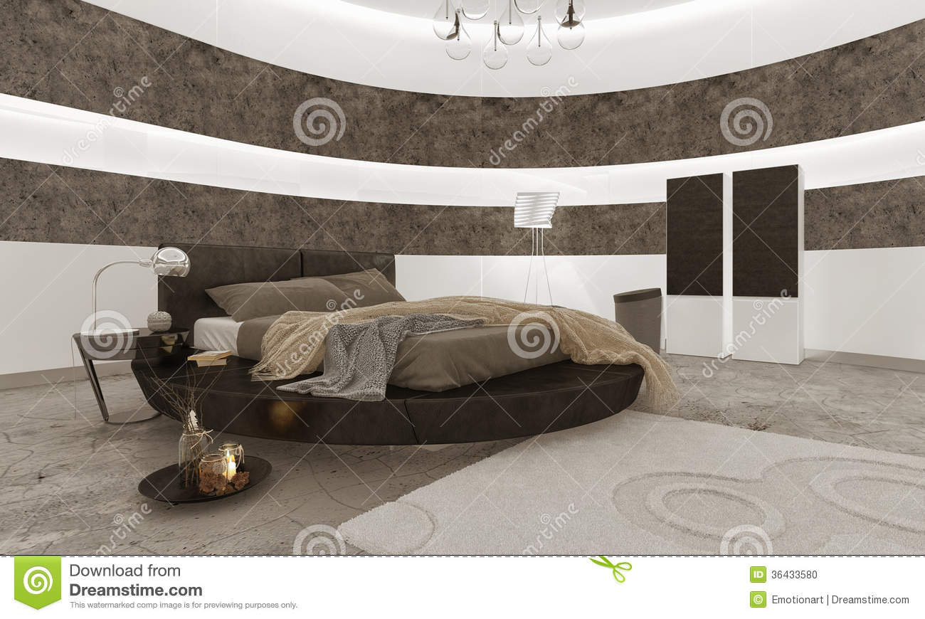 Bedroom interior with black king size bed stock for Interior design king size bed