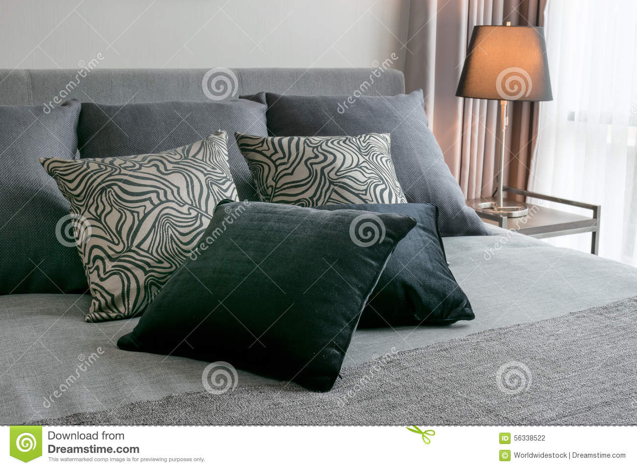Bedroom Interior With Black Patterned Pillows Stock Photo - Image: 56338522