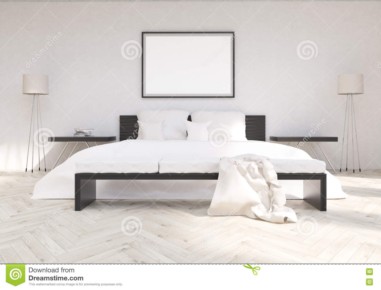 Bedroom Interior With Blank Frame Stock Illustration