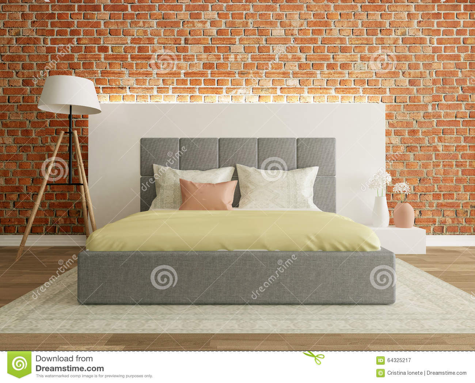 bedroom interior with brick wall, modern room stock illustration