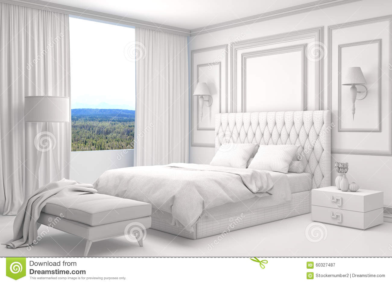 Bedroom Interior With CAD Wireframe Mesh. 3D Illustration Stock ...