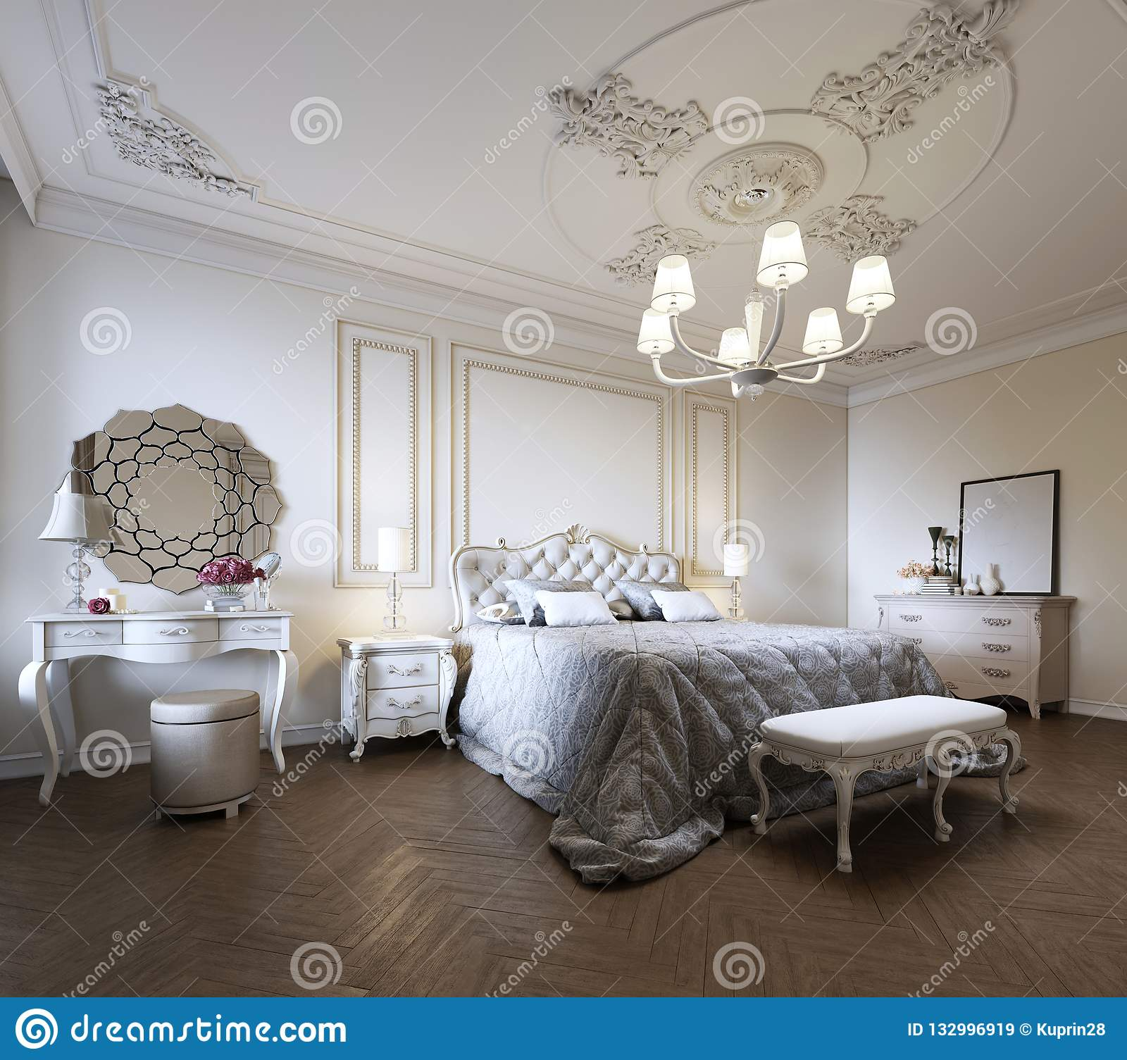 Bedroom Interior Design In A Modern Classic Style Stock