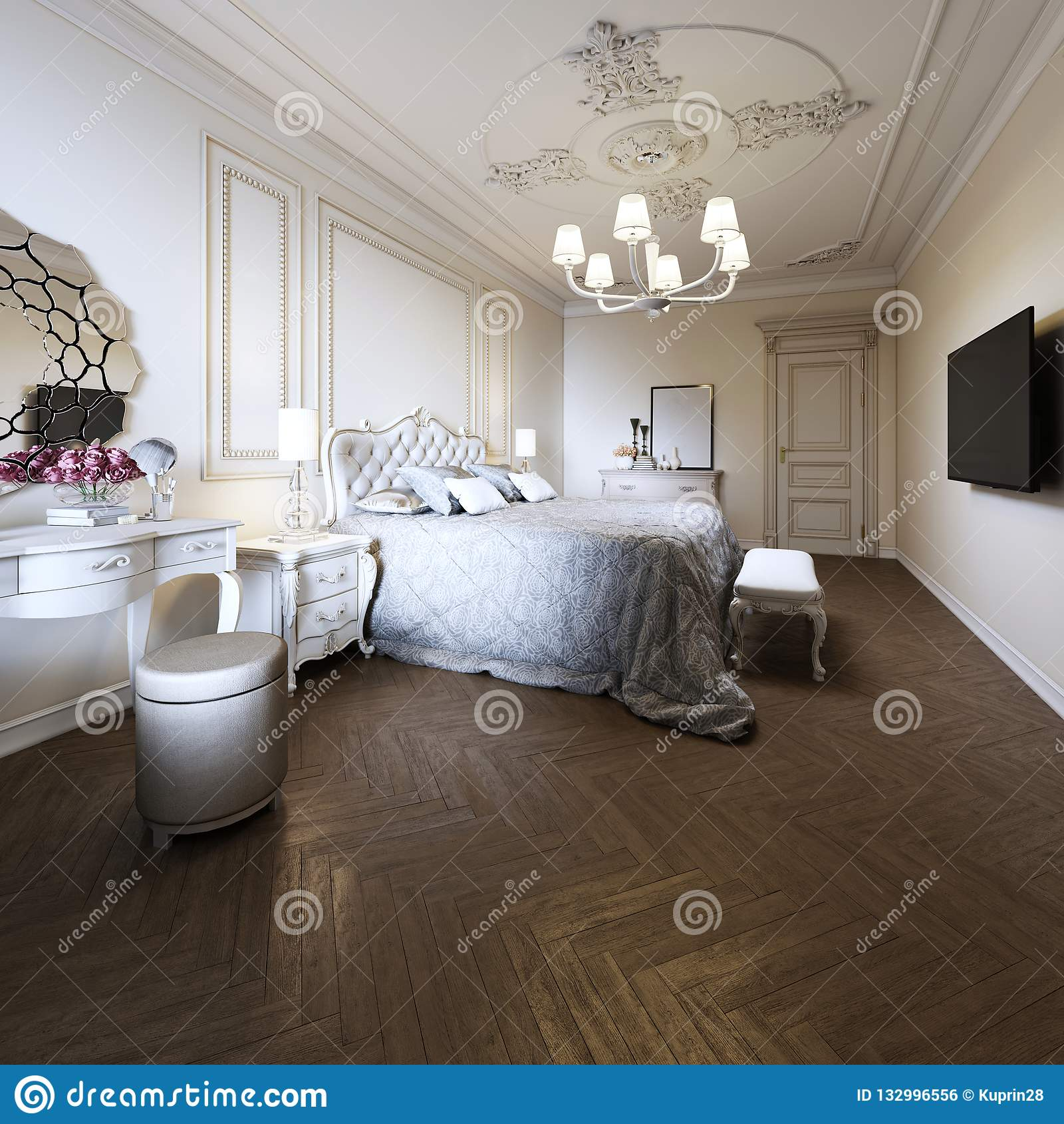 Bedroom Interior Design In A Modern Classic Style Stock Illustration Illustration Of Decor Molding 132996556