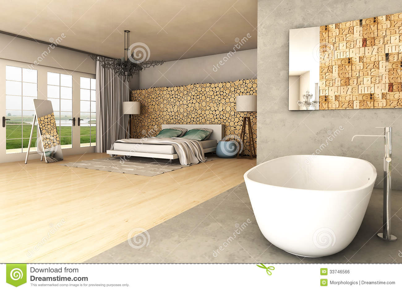 design rendering of modern bedroom with wooden features and bathtub